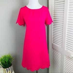Mittoshop Bright Pink scalloped hem shift Dress